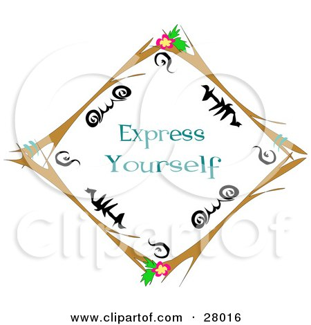 Royalty-free clipart picture of a brown twig diamond border with black