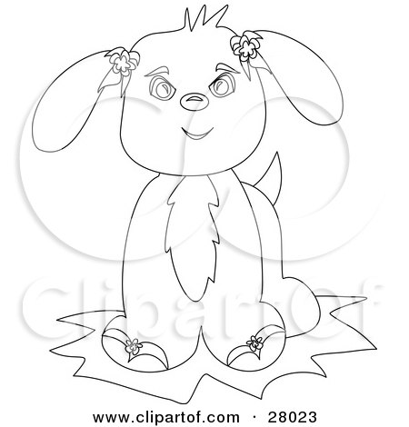 28023-Clipart-Illustration-Of-A-Black-And-White-Coloring-Book-Page-Of-An-Adorable-Puppy-Dog-With-Flowers-On-Its-Ears-Facing-Front.jpg (389×450)