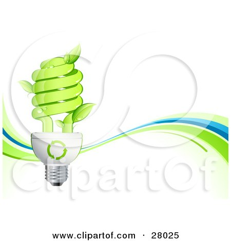 Clipart Illustration of Leaves Sprouting From A Green Spiral Lightbulb Over A White Background With Green And Blue Waves by beboy
