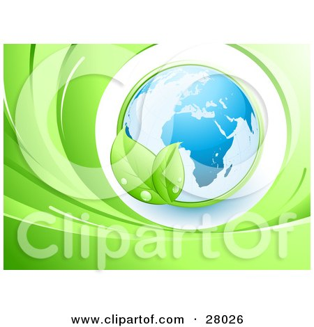 Clipart Illustration of a Green Leafy Vine Circling Around And Embracing Blue Planet Earth Over A White Circle In A Wave Of Greens by beboy