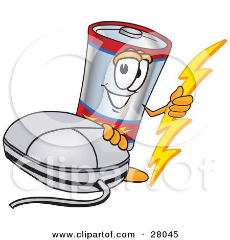 Clipart Illustration of a Battery Mascot Cartoon Character With a Computer Mouse by Toons4Biz