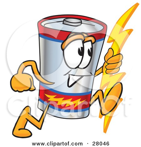 Clipart Illustration of a Battery Mascot Cartoon Character Holding A Bolt Of Energy And Running by Toons4Biz