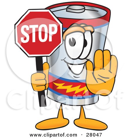 Clipart Illustration of a Battery Mascot Cartoon Character Holding a Stop Sign  by Toons4Biz
