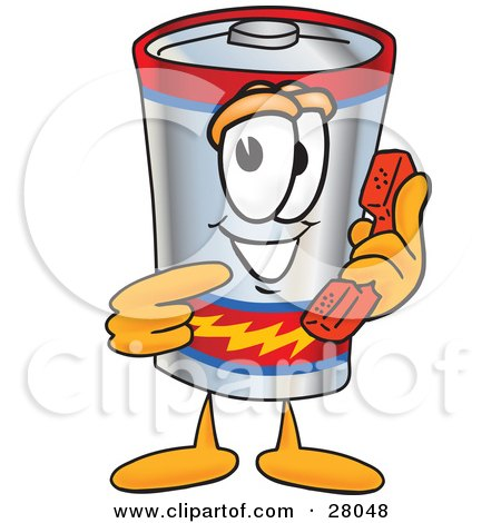 Clipart Illustration of a Battery Mascot Cartoon Character Holding a Telephone by Toons4Biz