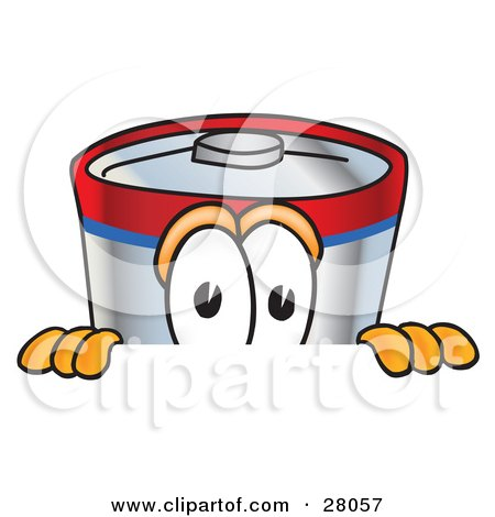 Clipart Illustration of a Battery Mascot Cartoon Character Peeking Over a Surface by Toons4Biz
