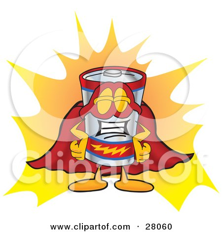 Clipart Illustration of a Battery Mascot Cartoon Character Dressed as a Super Hero by Toons4Biz