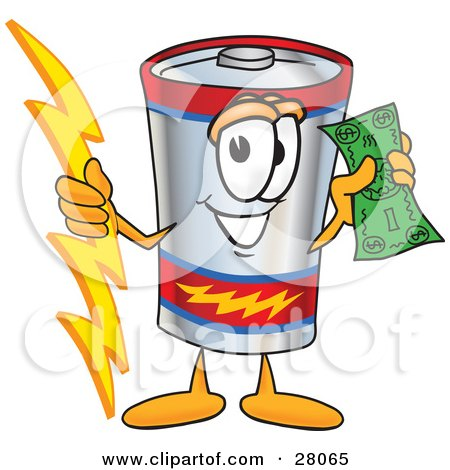 Clipart Illustration of a Battery Mascot Cartoon Character Holding A Bolt Of Energy And A Green Dollar Bill by Toons4Biz