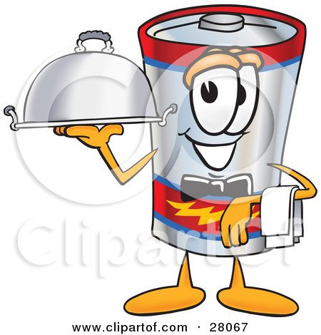 Clipart Illustration of a Battery Mascot Cartoon Character Dressed as a Waiter and Holding a Serving Platter by Toons4Biz