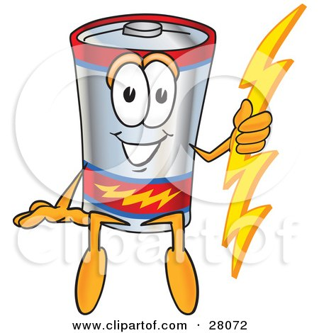 Clipart Illustration of a Battery Mascot Cartoon Character Sitting And Holding A Bolt Of Energy by Toons4Biz