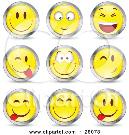 Clipart Illustration of a Set Of Yellow Emoticon Faces Circled in Chrome by beboy