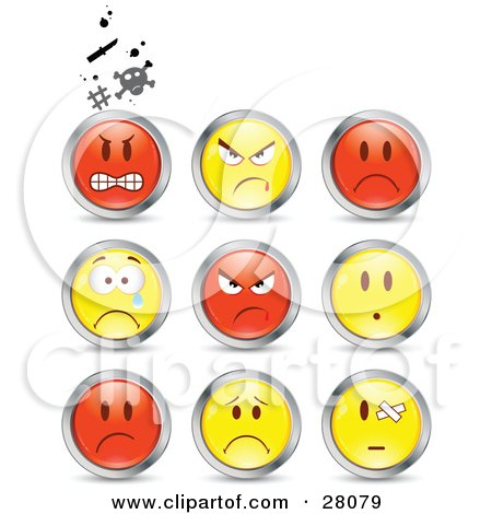 Clipart Illustration Of A Set Of Mad Angry Bully Crying And Bandaged Red And Yellow Emoticon Faces Circled In Chrome