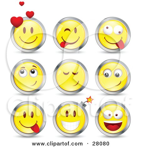 Clipart Illustration of a Set Of Infatuated, Teasing, Goofy And Bomb Yellow Emoticon Faces Circled in Chrome by beboy