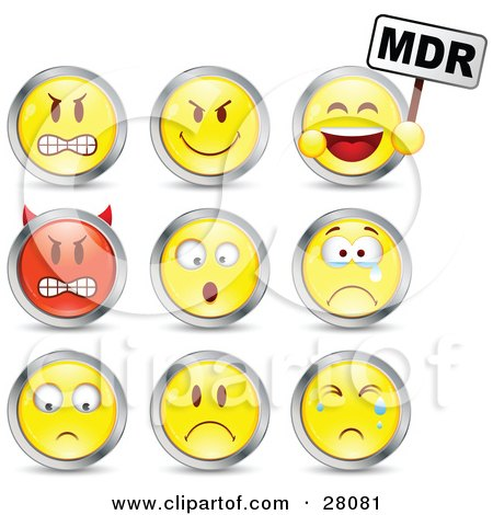 Clipart Illustration Of A Set Of Mad Mean Devil Scared Crying And Upset Red And Yellow Emoticon Faces Circled In Chrome