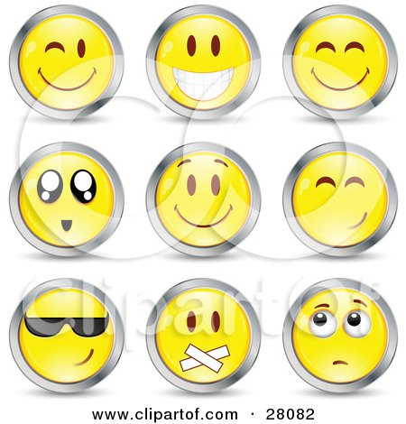 Clipart Illustration of a Set Of Winking, Smiling, Happy, Awed, Cool, Silenced And Nervous Yellow Emoticon Faces Circled in Chrome by beboy