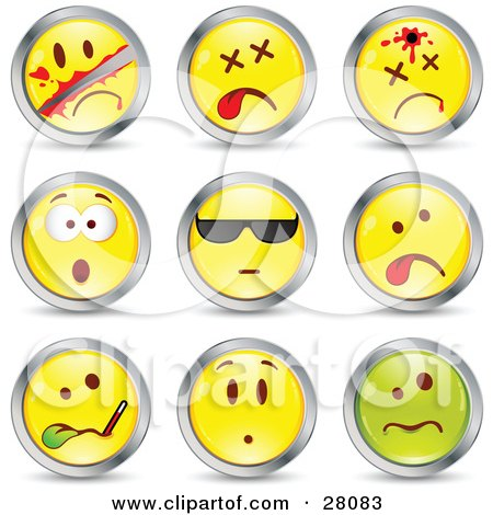 Clipart Illustration of a Set Of Sliced, Dead, Shot, Shocked, Cool, Sick And Upset Green And Yellow Emoticon Faces Circled in Chrome by beboy