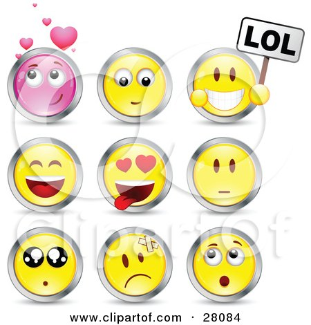 Clipart Illustration of a Set Of Infatuated, Laughing, Nervous, Hurt And Surprised Pink And Yellow Emoticon Faces Circled in Chrome by beboy