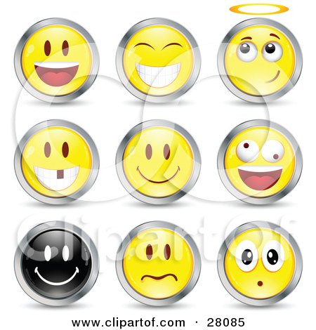 Clipart Illustration of a Set Of Happy, Angelic, Goofy And Upset Black And Yellow Emoticon Faces Circled in Chrome by beboy