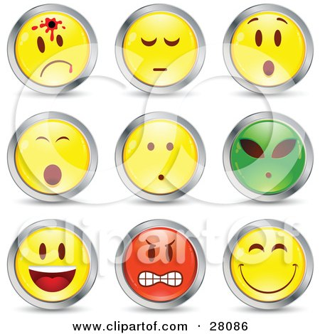 Clipart Illustration of a Set Of Shot, Shocked, Alien, Happy, Mad And Grinning Red, Green And Yellow Emoticon Faces Circled in Chrome by beboy