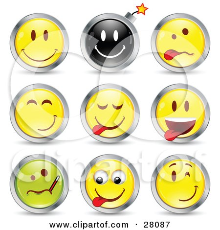 Clipart Illustration of a Set Of Happy, Bomb, Goofy, Teasing, Sick And Winking Black, Green And Yellow Emoticon Faces Circled in Chrome by beboy