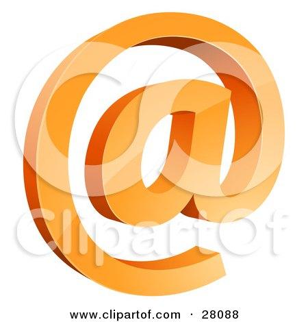 Clipart Illustration of a 3D Orange Arobase Or Email At Symbol by beboy
