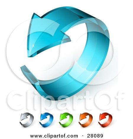 Clipart Illustration of a 3d Blue Glass Arrow Curling In A Circle, Includes Gray, Dark Blue, Green, Orange And Red Versions. by beboy