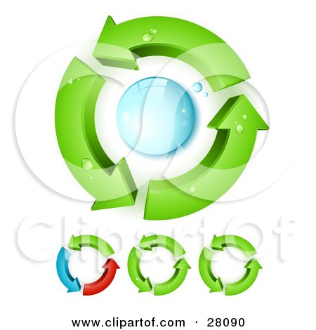 Clipart Illustration of Green Arrows Circling Around A Blue Water Droplet, Symbolizing Water Purification And Recycling by beboy
