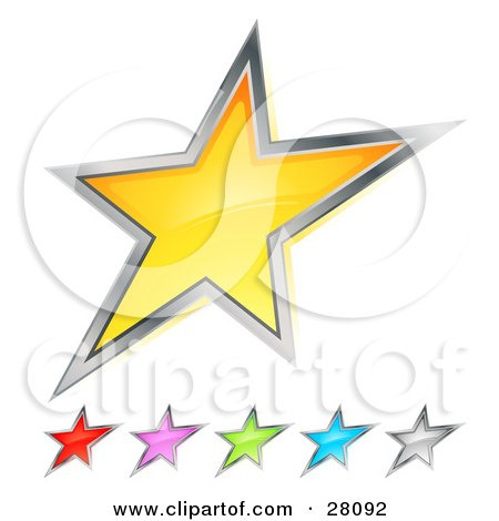 Clipart Illustration of a Set Of Yellow, Red, Pink, Green, Blue And Silver Stars Over White by beboy