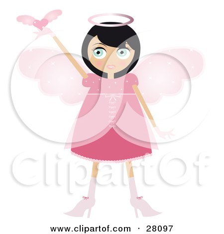 Clipart Illustration of a Black Haired Fairy Woman In A Pink Dress And Heels, With Big Pink Wings And A Halo, Holding A Winged Heart Up by Melisende Vector