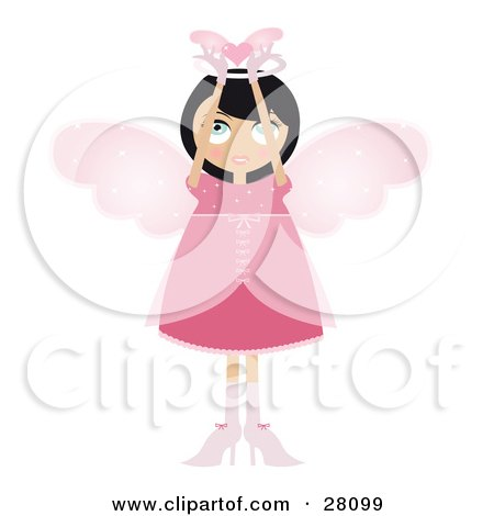 Clipart Illustration of a Black Haired Fairy Woman In A Pink Dress And Heels, With Big Pink Wings And A Halo, Holding A Winged Heart Above Her Head by Melisende Vector