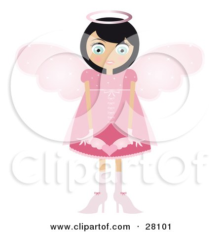 Clipart Illustration of a Black Haired Fairy Woman In A Pink Dress And Heels, With Big Pink Wings And A Halo, Holding A Winged Heart In Front Of Her by Melisende Vector