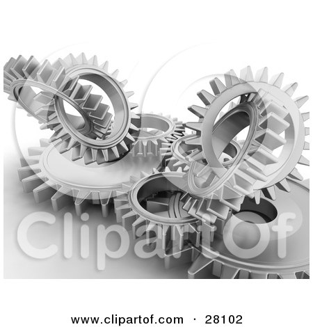 Clipart Illustration of Clustered Silver Cogs and Gears Working in Unison by KJ Pargeter