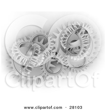 Clipart Illustration of a Cluster of Chrome Cogs and Gears Working in Unison by KJ Pargeter