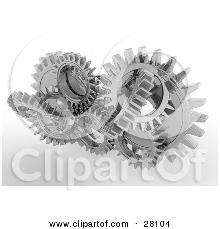 Clipart Illustration of a Cluster of Silver Cogs and Gears Working in Unison by KJ Pargeter
