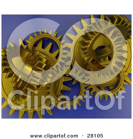 Clipart Illustration of Clustered Gold Cogs And Gears Working In Unison Over A Blue Background by KJ Pargeter
