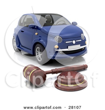 Clipart Illustration of a Judge's Wooden Gavel In Front Of A Repossessed Blue Car by KJ Pargeter