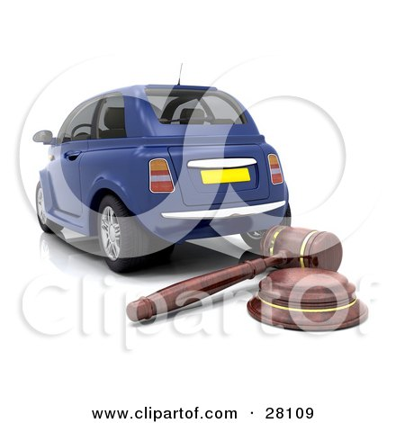 Clipart Illustration of a Wooden Judge Or Auctioneer Gavel Behind A Repossessed Or Blue Auction Car by KJ Pargeter