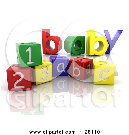 Clipart Illustration of the Colorful Word Baby Behind Number And Alphabet Toy Blocks On A Reflective White Surface by KJ Pargeter