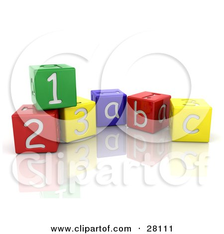 Colorful Number And Alphabet Toy Blocks On A Reflective White Surface Posters, Art Prints
