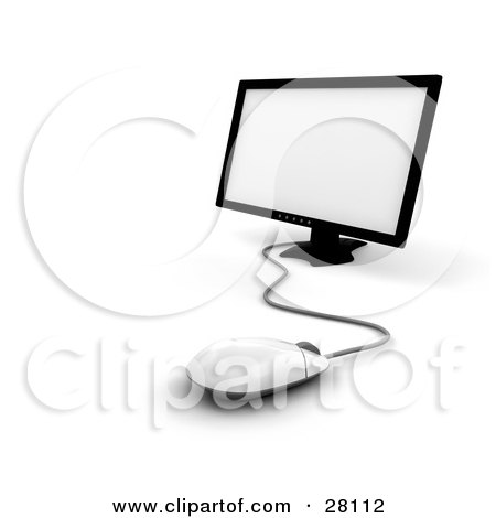 White computer mouse in front of a flat screen monitor by kj pargeter