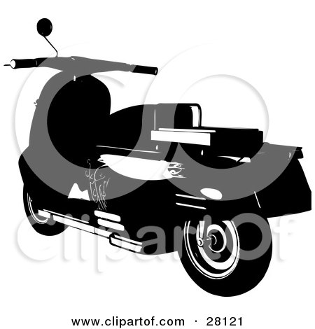 Clipart Illustration of a Silhouetted Scooter Moped Bike With Elegant Designs by KJ Pargeter