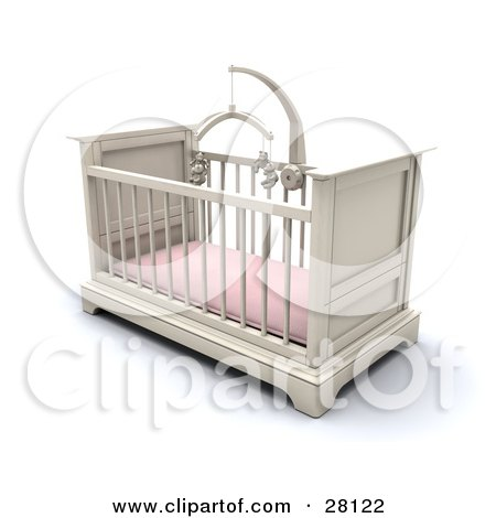 Clipart Illustration of a White Girl's Baby Crib In A Nursery With A Pink Pad And Teddy Bear Mobile by KJ Pargeter