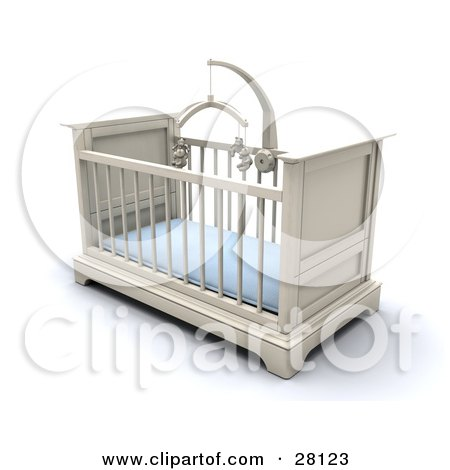 Clipart Illustration of a White Boy's Baby Crib In A Nursery With A Blue Pad And Teddy Bear Mobile by KJ Pargeter