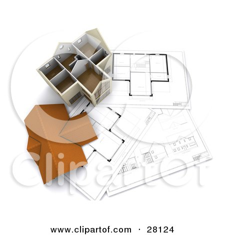 Clipart Illustration of a Roof Resting Beside A Model Home On Top Of Floor Plans by KJ Pargeter