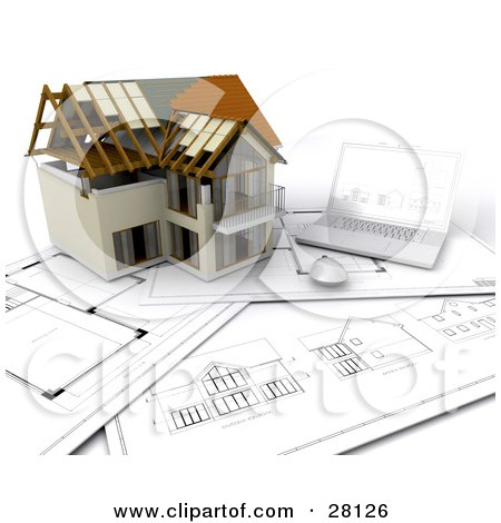 Clipart Illustration of a Nearly Completed Home Resting On Floor Plans Beside A Laptop Computer by KJ Pargeter