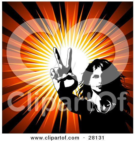 Clipart Illustration of a Hippie Woman Gesturing The Peace Sign With Her Hand, Over A Bursting Background by KJ Pargeter
