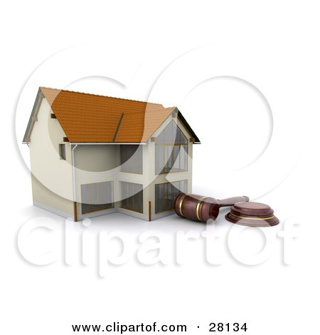 Clipart Illustration of an Auctioneer Gavel Resting In Front Of A Foreclosed Home by KJ Pargeter