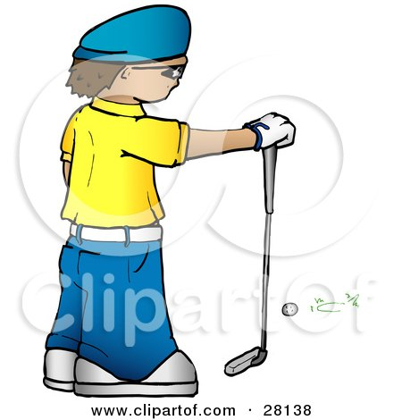 Clipart Illustration of a Man In A Yellow Shirt And Blue Hat, Standing In Front Of A Golf Ball And Resting His Hand On A Club by KJ Pargeter