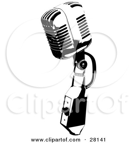 Clipart Illustration of a Vintage Black And White Microphone Speaker by KJ Pargeter