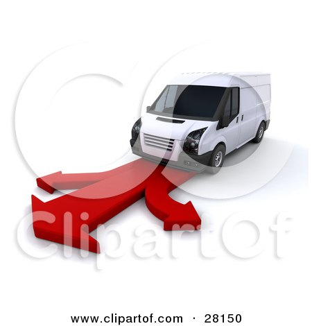 Clipart Illustration of a White Delivery Van Driving On A Red Arrow Road That Branches In Three Directions by KJ Pargeter