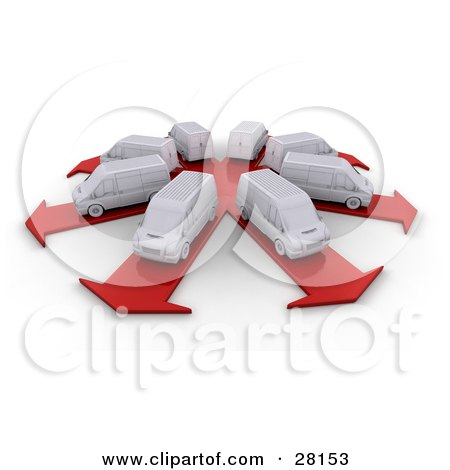Clipart Illustration of a Fleet Of White Delivery Vans In A Circle, Each Prepared To Take Its Own Route On Arrow Roads by KJ Pargeter